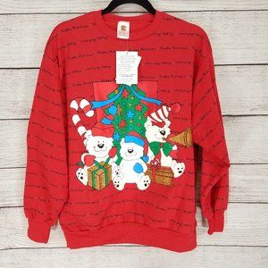 NEW Holiday Time L Ugly Christmas Sweater Red